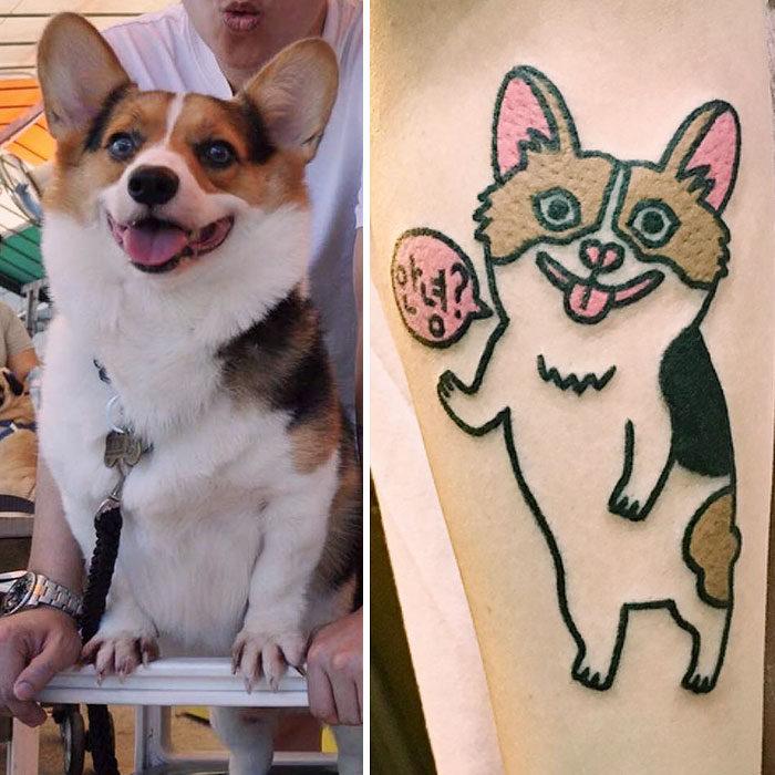 perro corgi feliz tatuaje