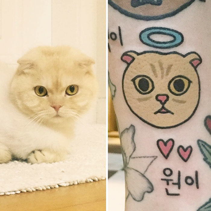 gato angelito tatuaje