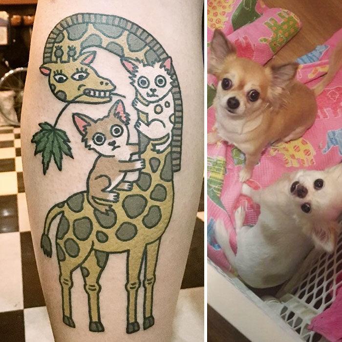 dos chihuahuas en una jirafa tatuaje