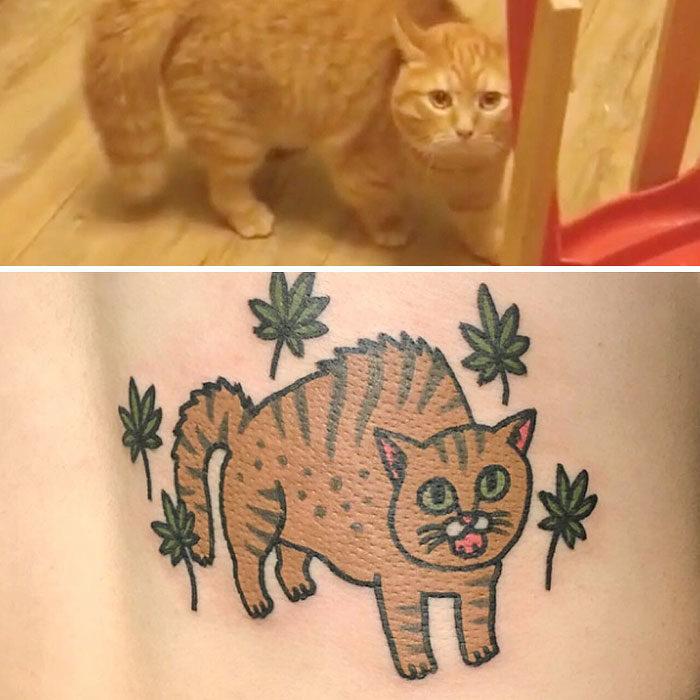 gato asustado tatuaje