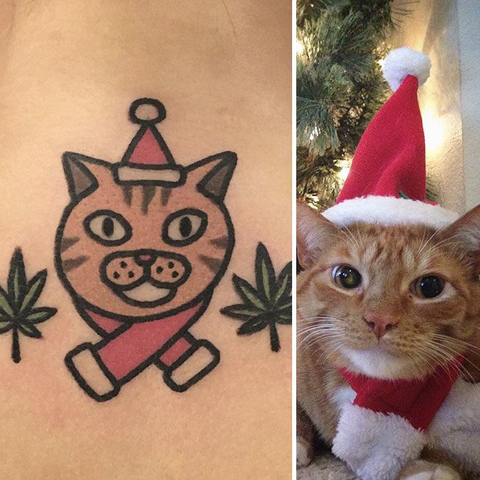 gato con gorro navideño tatuaje