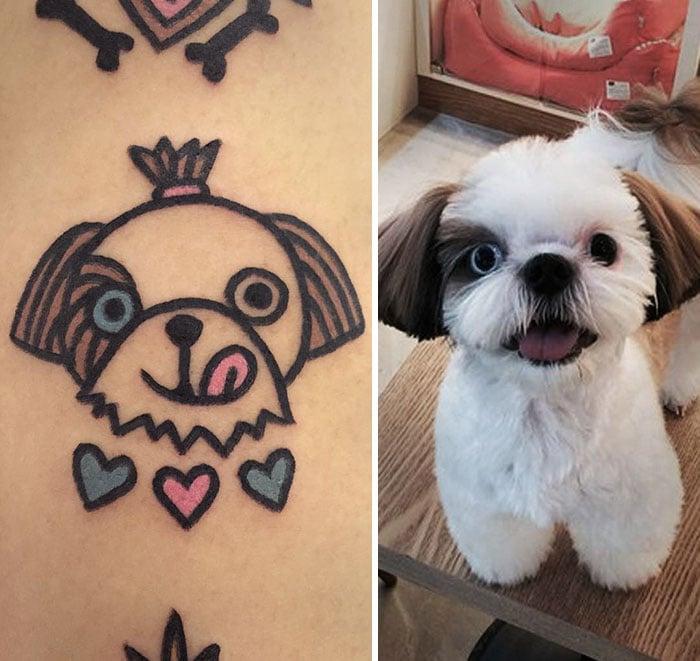 perrito sonriendo tatuaje