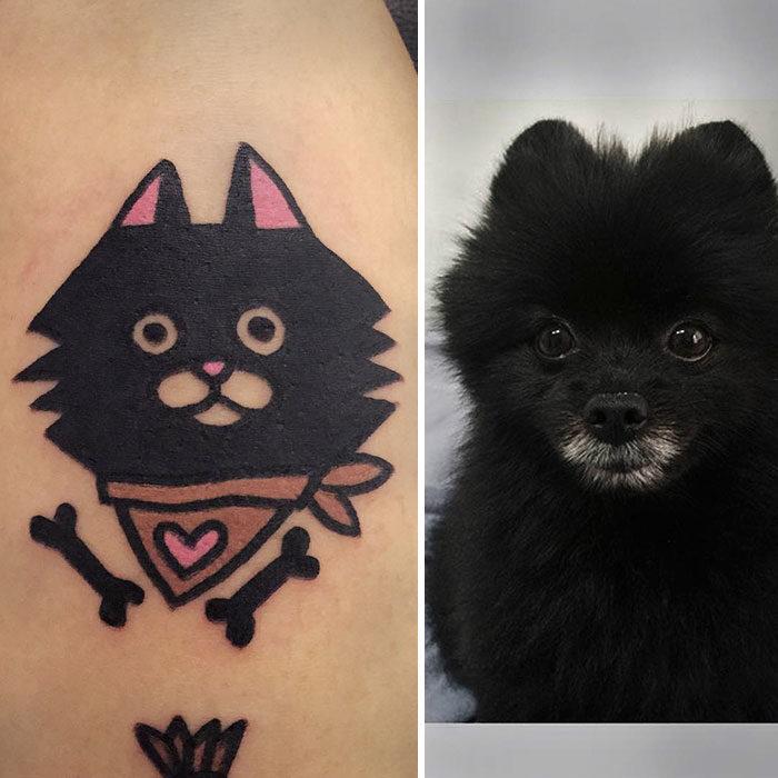 perro negro tatuaje