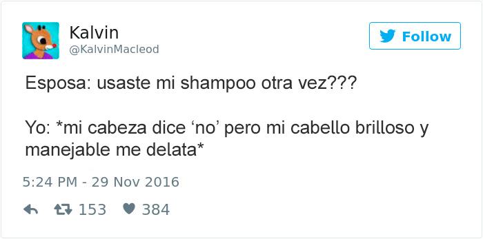 tuits esposos - usaste mi shampoo