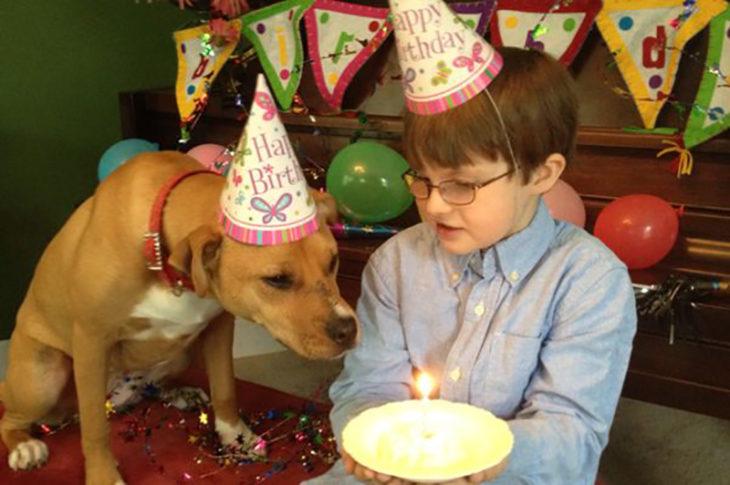 pastel cumpleaños niño y perrita