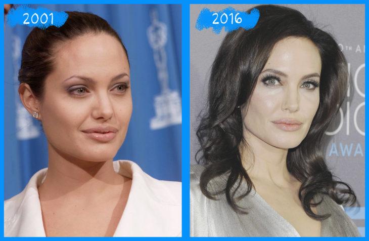angelina jolie en el 2001 y el 2016