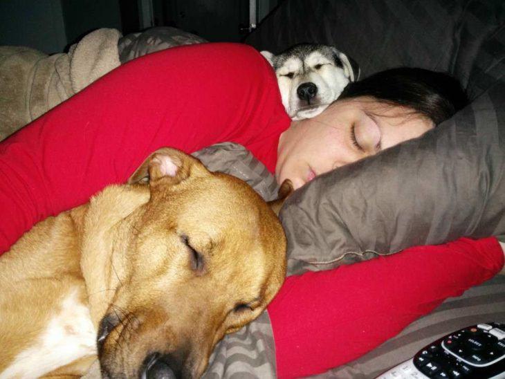 mujer dormida con sus dos perros