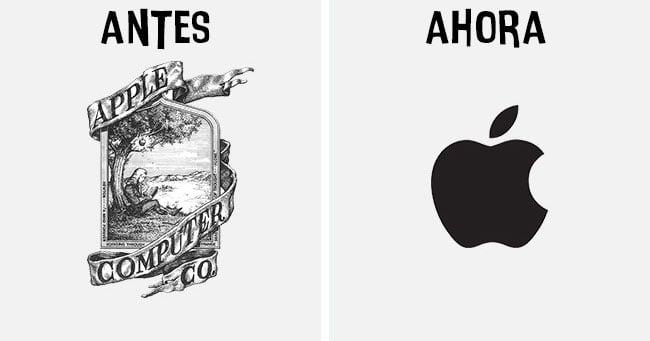 Cómo han cambiado los logotipos más famosos antes y después apple