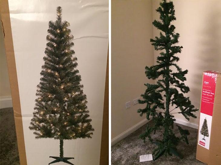 árbol de navidad raquítico a comparación de la fotografía de la caja