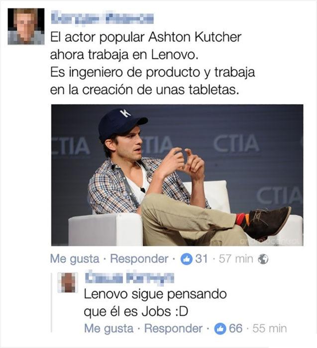 Fotografía de Ashton Kutcher en un sofá publicada en Facebook
