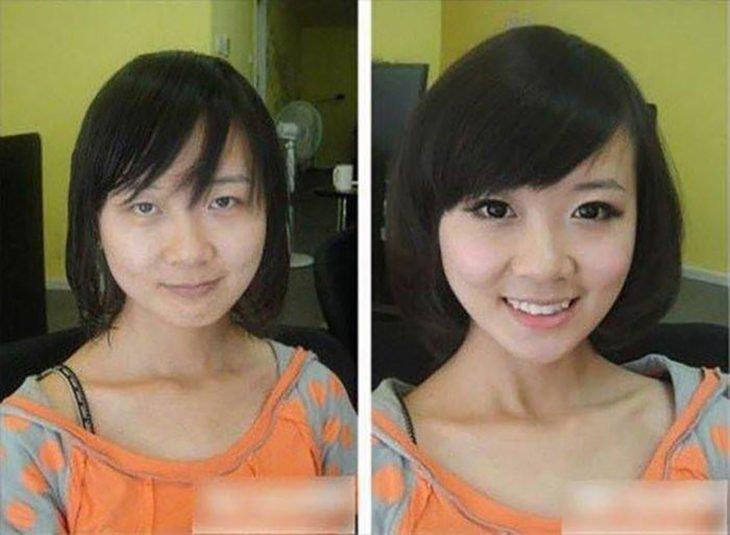 asiática antes y después de maquillarse