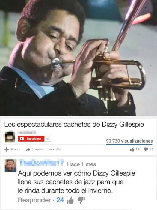 dizzy tocando el sax con los cachetes inflados