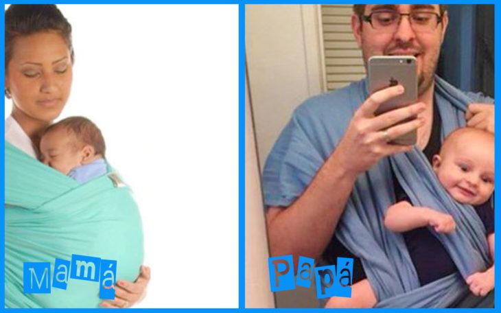 cargar al bebé mamá vs papá
