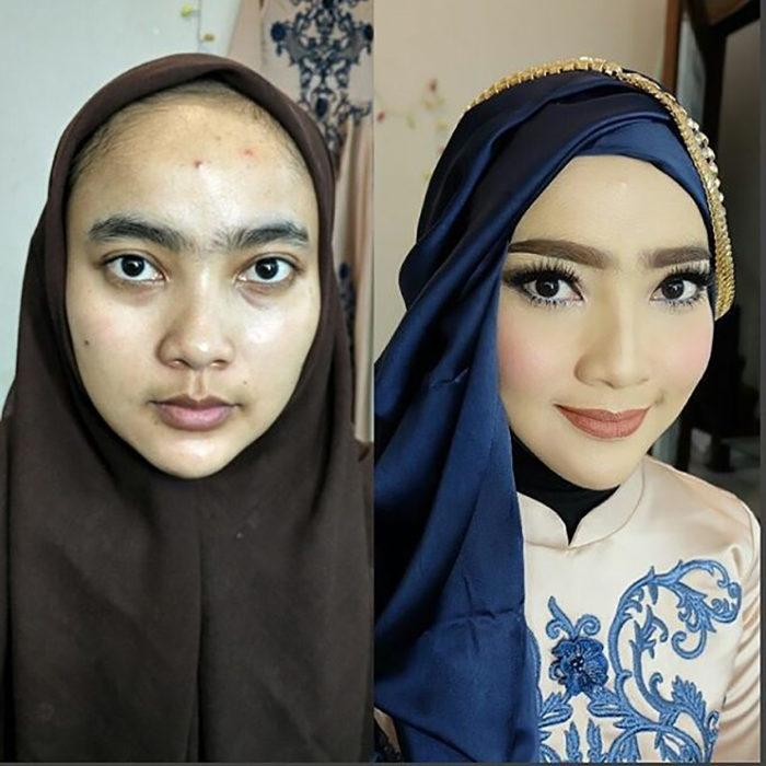 chica con hijab antes y después del maquillaje