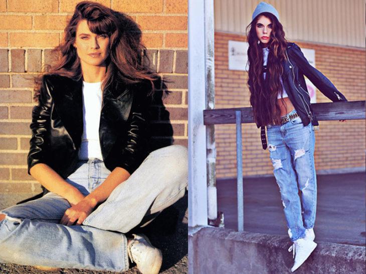 chamarra negra cuero moda de los 80s