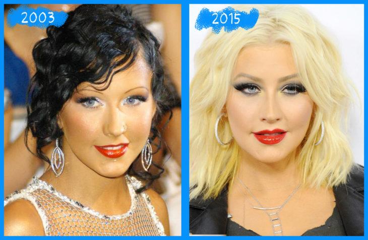 christina aguilera en el 2003 y 2015