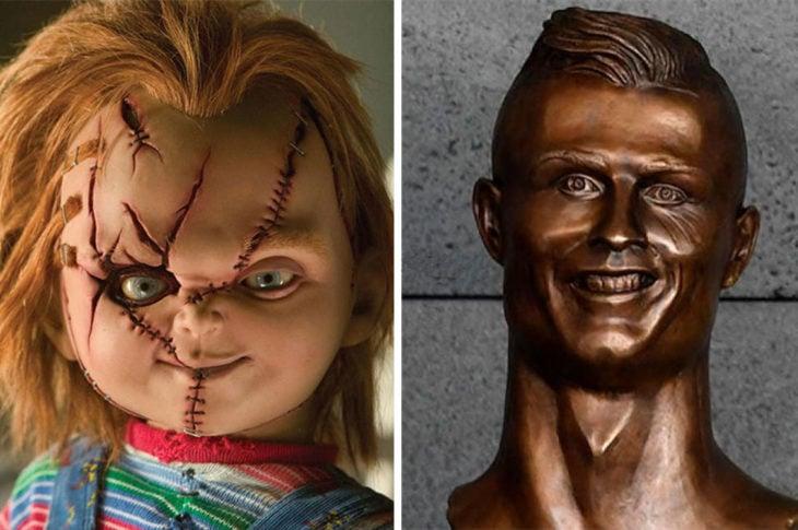 muñeco diabólico chucky cristiano ronaldo estatua busto bronce