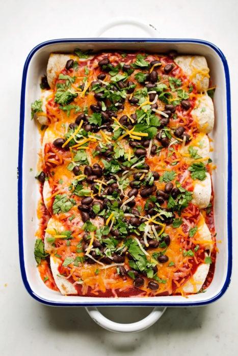 enchiladas frijol comida vegana