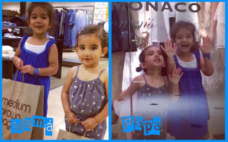 ir de compras con mamá vs papá
