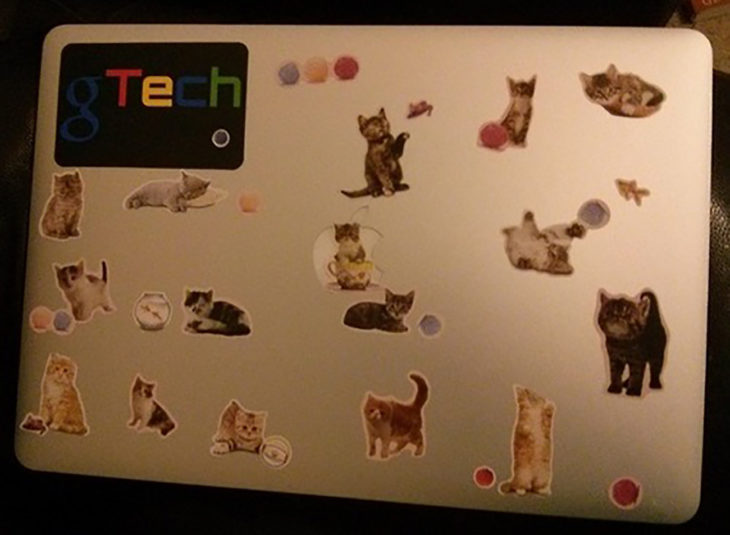 laptop con estampitas de gatos