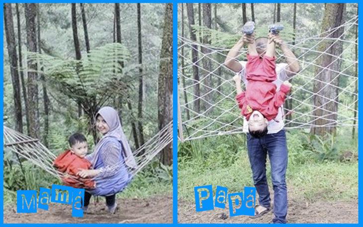día de campo con mamá vs papá