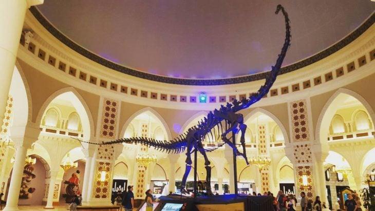 esqueleto de dinosaurio en mercado de dubai