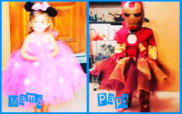niña disfrazada de mimie mouse vs niña disfrazada de iron man