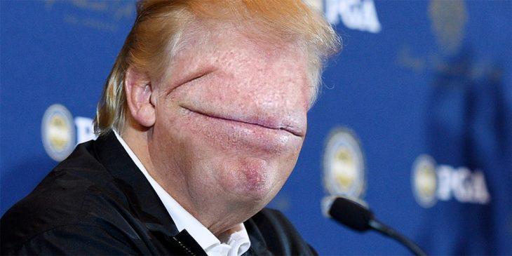 donald trump editado sin ojos ni nariz, con una boca que cubre toda su cara