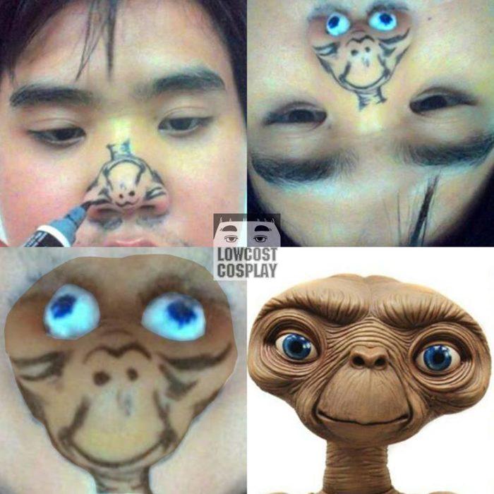 chico se pinta a E.T. en la nariz