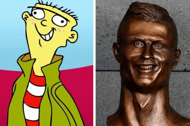 ed edd y eddy cristiano ronaldo estatua busto bronce