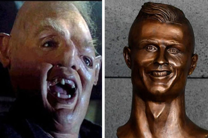 cristiano ronaldo estatua busto bronce aborigen goomie