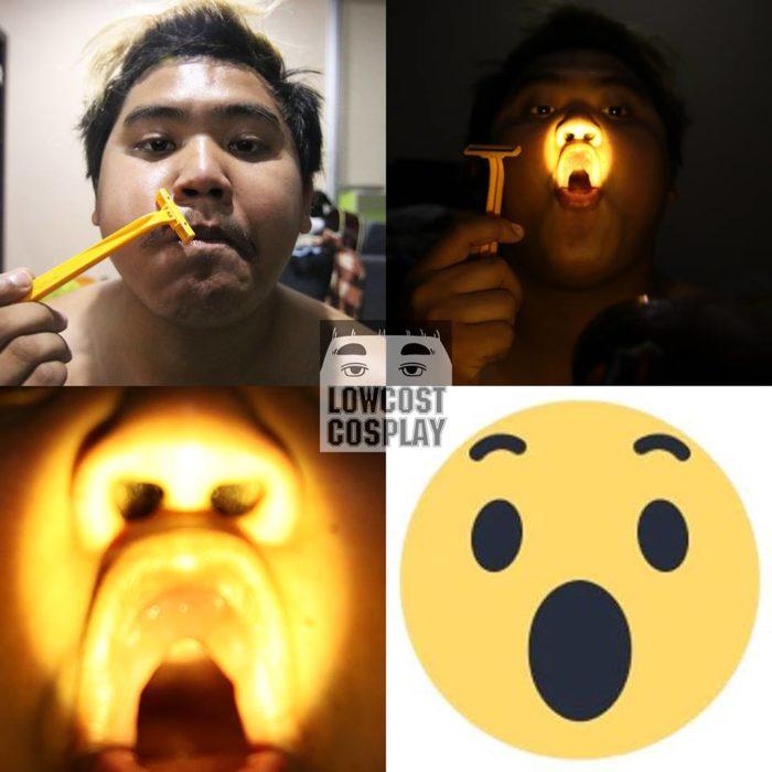 Chico usa un rastrillo y una luz amarilla para lucir como un emoji sorprendido