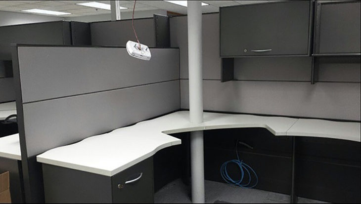 pilar atraviesa a un escritorio