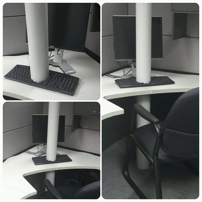 pilar que atraviesa escritorio y teclado