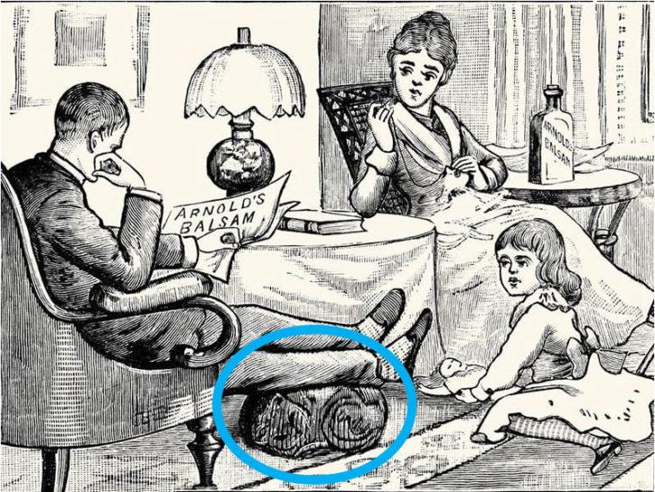 gato en la ilustración acostado debajo de los pies del amo