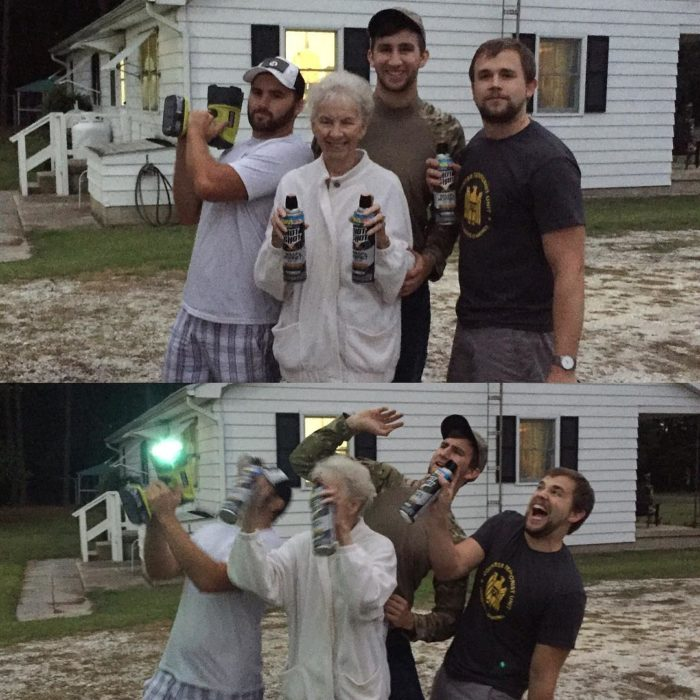 anciana bebiendo cerveza con sus nietos