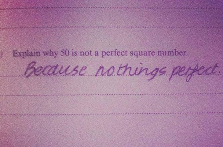 examen de Explica porque 50 no es un numero cuadrado perfecto