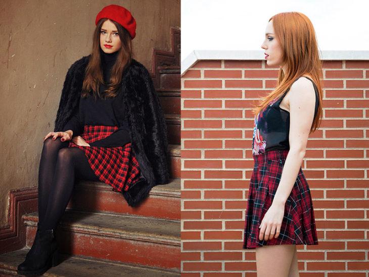 falda a cuadros roja mujeres moda de los 80s