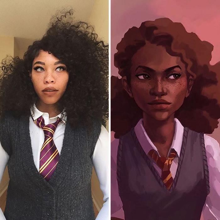 chica disfrazada de hermione