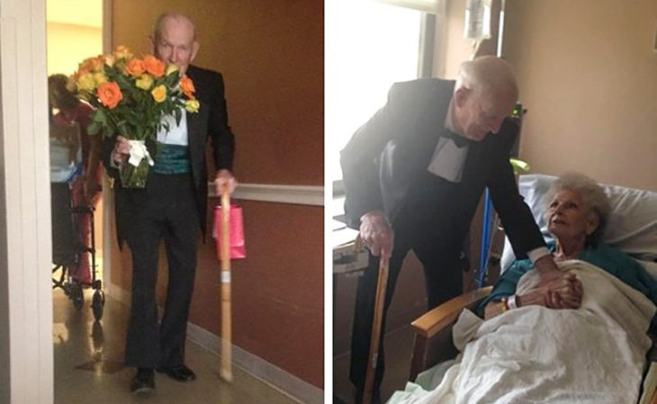 anciano le regala flores a su esposa