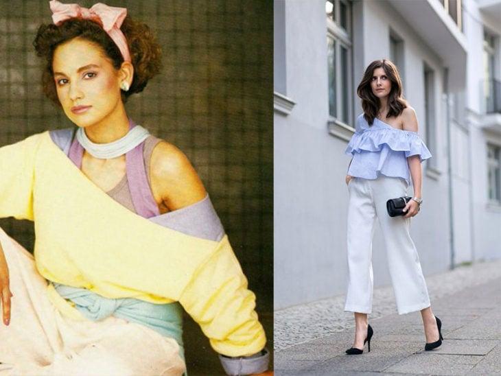 moda de los 80s blusa hombros