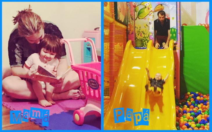 niña jugando con mamá vs niño jugando con papá