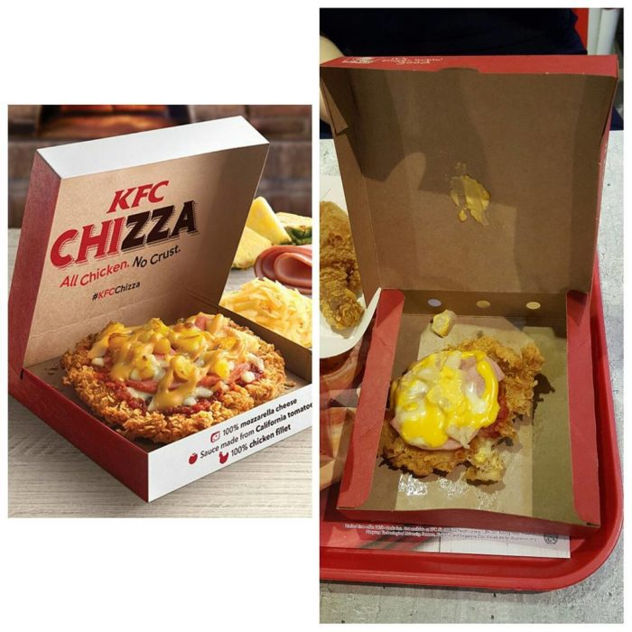 expectativa vs realidad KFC Pizza