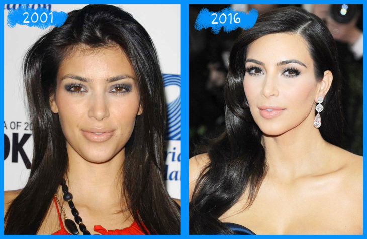 kim kardashian 2001 y 2016
