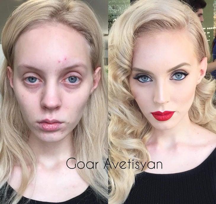 mujer rubia antes y después de maquillarse y peinarse al estilo hollywood
