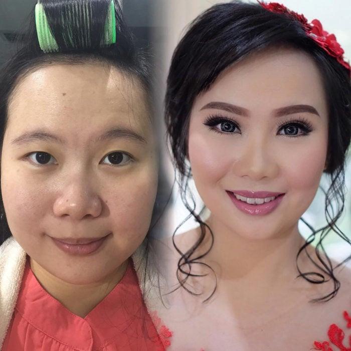 mujer antes y después de maquillarse y ponerse pupilentes