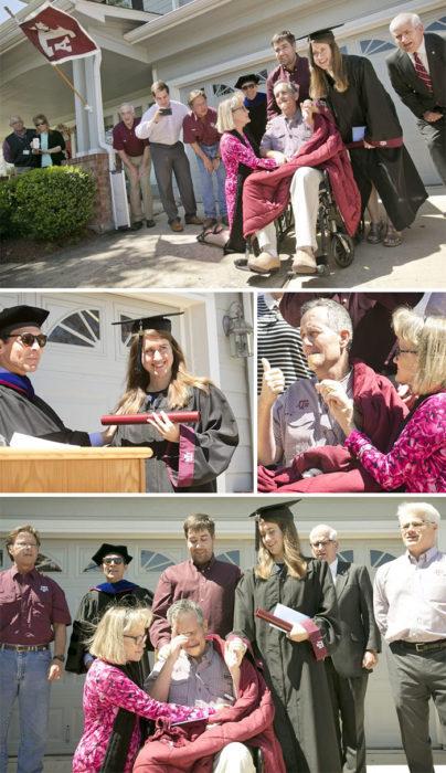 llevan la graduación a casa d hombre con cáncer terminal