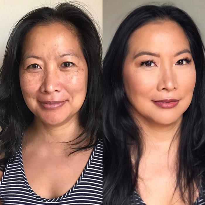 señora de la mediana edad antes y después de maquillarse