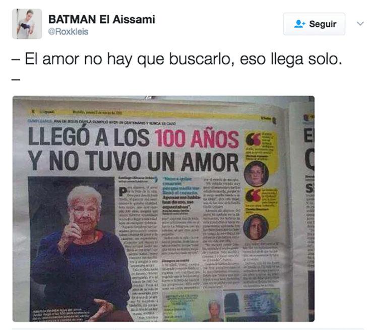 mujer en periódico que llegó a los 100 años y jamás tuvo amor