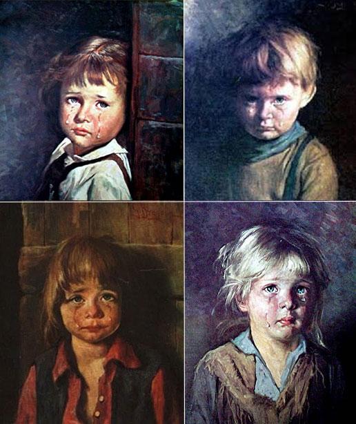 pinturas que dan miedo niños llorones